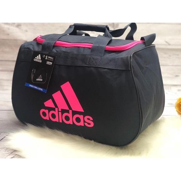 77b8c0053612 Adidas Diablo small duffel gym bag tote pink gray